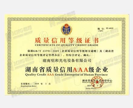 Quality Credit AAA Grade Enterprise of Hunan Province